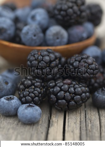 blueberries and blackberries