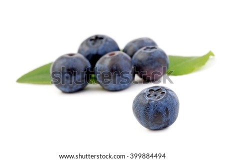Blueberries, blueberries isolated on white background. Blueberries with leaves. Blueberries fruit.. Healthy blueberries. - stock photo