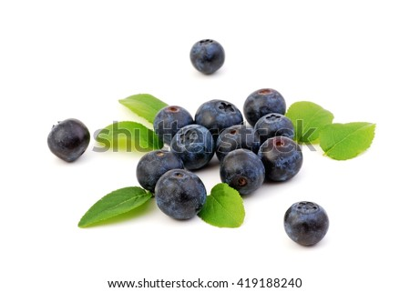 Blueberries, Blueberries isolated on white background.  Blueberries with leaves .Fresh  blueberries. Blueberries fruit. Blueberries on white. Healthy blueberries. - stock photo