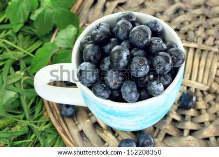 Blueberries in cup on wicker tray on grass