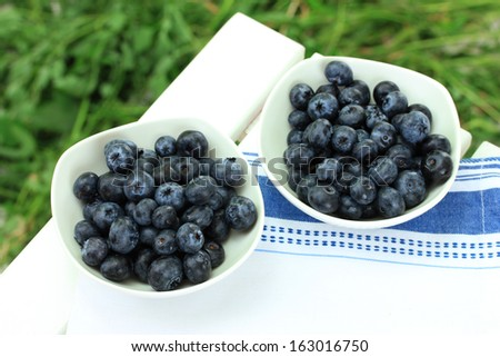 Blueberries in plates on napkin on wooden table on grass background
