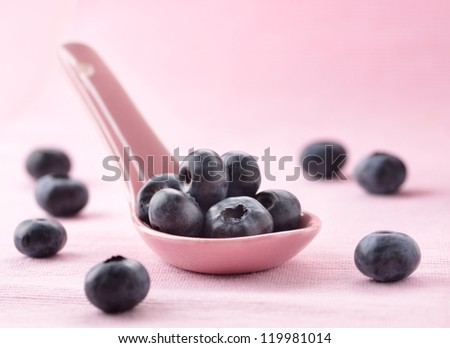 Blueberries on a spoon. Closeup view.