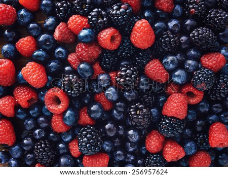 blueberries, raspberries and black berries shot top down - stock photo