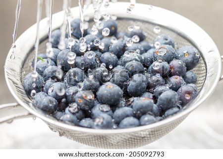 Blueberries rinsed with water