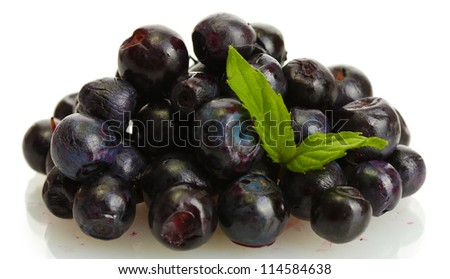 blueberries with mint  isolated on white
