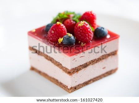Blueberry and raspberry mousse cake  - stock photo