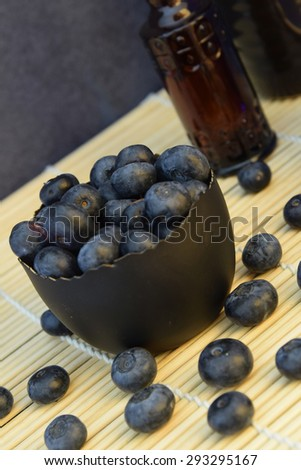 Blueberry antioxidant organic in a bowl concept for healthy eating and nutrition