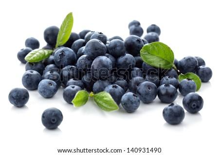 Blueberry antioxidant superfood isolated on white - stock photo