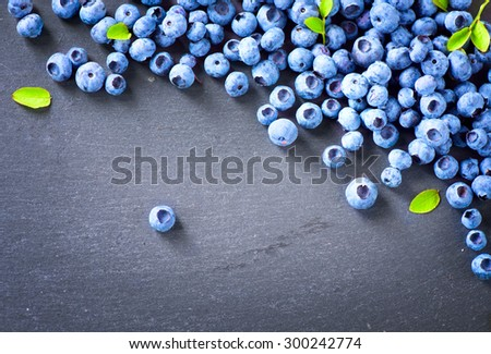 Blueberry border design. Blueberries background. Ripe and juicy fresh picked blueberries closeup. Copyspace for your text.  - stock photo