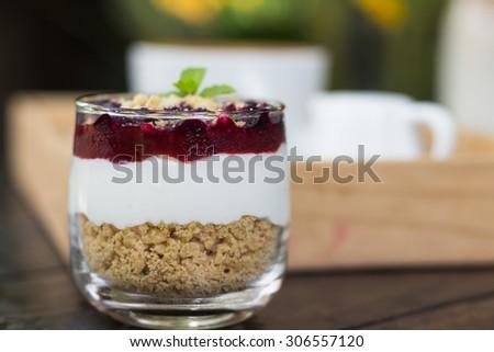 Blueberry cheese cake - stock photo