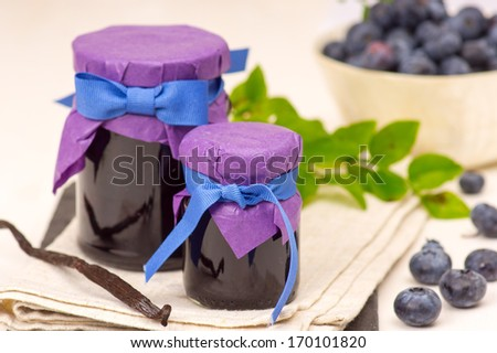 Blueberry confiture with vanilla - stock photo