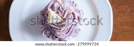 Blueberry cupcake with white chocolate and cocoa on top - stock photo