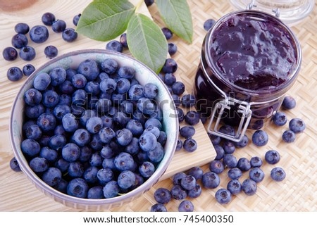 Blueberry fruits jam in the kitchen on the table