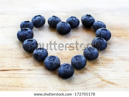 Blueberry heart - stock photo