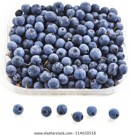 blueberry in plastic container box, isolated over a white - stock photo