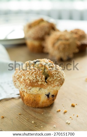 Blueberry muffin on old wooden table - stock photo