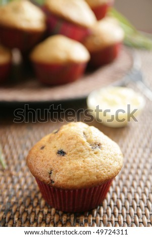 Blueberry muffin with butter and a plate full of muffins in background