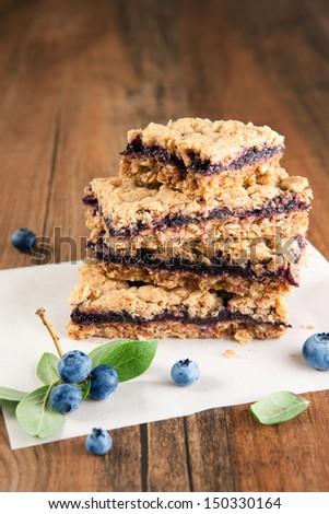 Blueberry oat crumb bars - stock photo