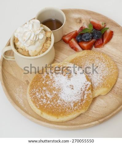 blueberry pancakes - stock photo
