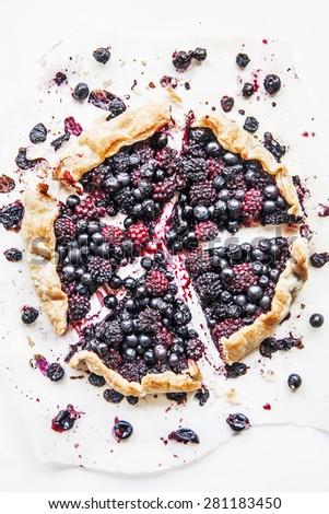 Blueberry pie cut - stock photo