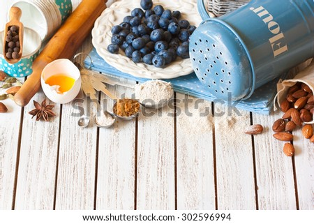 Blueberry pie preparation. Fresh food ingredients for baking.