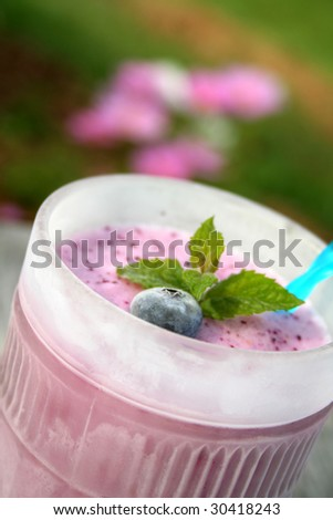 Blueberry smoothie in a frosted glass and garnished with a fresh blueberry and mint leaves. Shot outside with blurred flowers in the background. Shot with a shallow depth of field and selective focus.