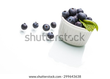 Blueberry with leaf, healthy, natural, diet, mint, group