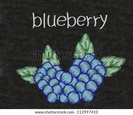 blueberry written on blackboard background high resolution - stock photo