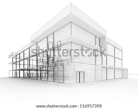 3d Modern House Design Blueprint Style Stock Illustration 44739913
