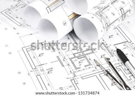 Blueprint floor plans with drawing tools - stock photo