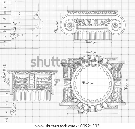 Blueprint hand draw sketch ionic architectural stock illustration blueprint hand draw sketch ionic architectural order based the five orders of architecture malvernweather Choice Image