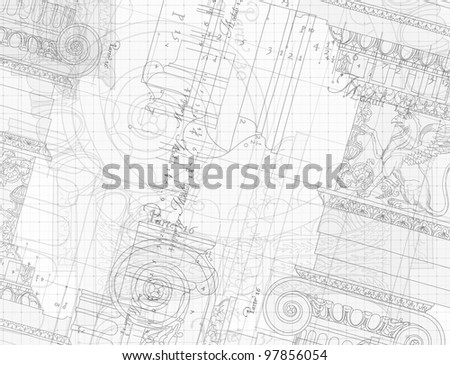Blueprint - hand draw sketch ionic architectural order. Bitmap copy my vector - stock photo
