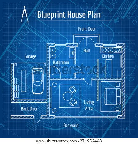 Blueprint house plan. Design architecture home, drawing structure and plan - stock photo