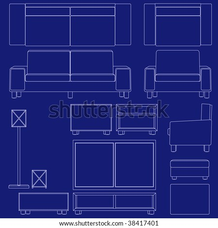Blueprint living room furniture illustrations raster stock blueprint living room furniture illustrations raster malvernweather Choice Image