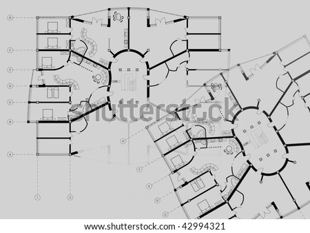 Blueprint Modern Building CAD Architectural Appartment Plan Blueprint Drawing on grey background