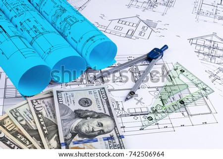 Blueprint architect money symbolic photo financing stock photo blueprint of an architect with money symbolic photo for financing and planning of a new malvernweather Gallery