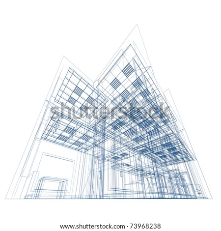 Blueprint on white. Conceptual architecture project original design - stock photo