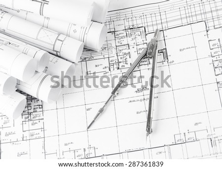 Blueprint plan house building construction drawing stock photo blueprint plan of house building construction with drawing compass on the worktable malvernweather Gallery