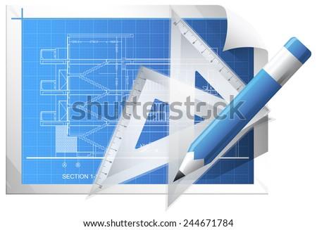 Blueprint Sheet - Illustration - stock photo