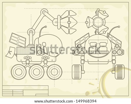 Blueprint scheme planet rover on old stock illustration 149968394 blueprint with the scheme of planet rover on old grunge paper raster copy of vector malvernweather Image collections