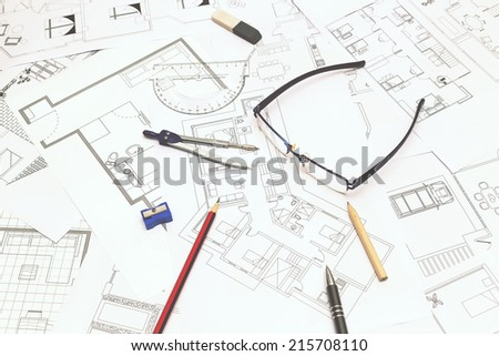 Blueprints - stock photo