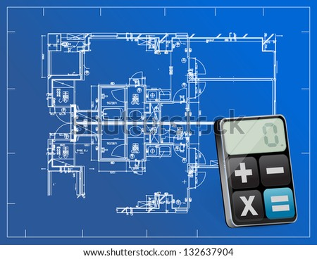 blueprints and modern calculator illustration design over white