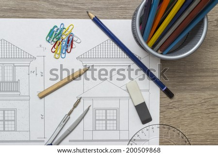 Blueprints and pencils - stock photo