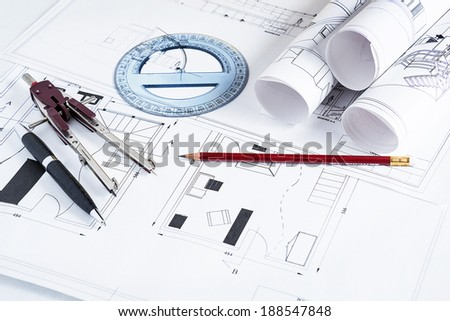 blueprints and work tools - stock photo