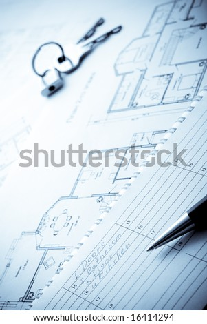 blueprints, planing notepad, pen and keys, building concept - stock photo