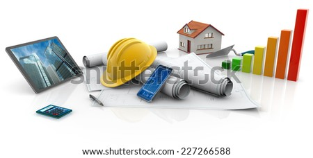 blueprints, protective helmet and contractor's work tools - stock photo