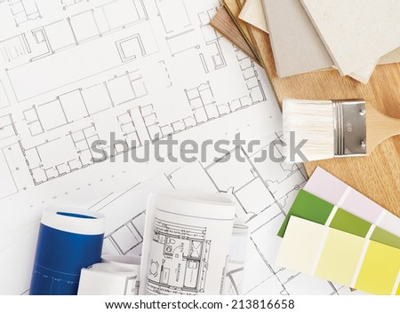 Blueprints, wood,color and stone samples - stock photo
