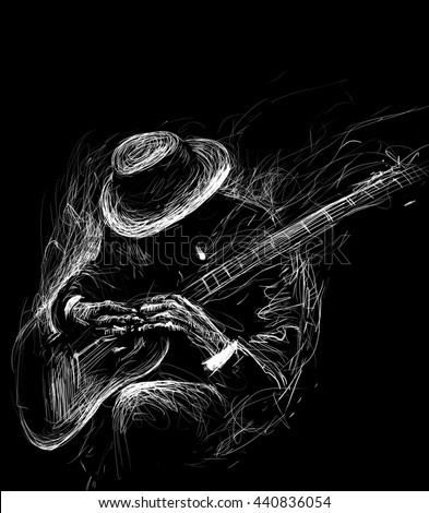 Blues  and Jazz musician with a guitar  and cigarette in the smoke