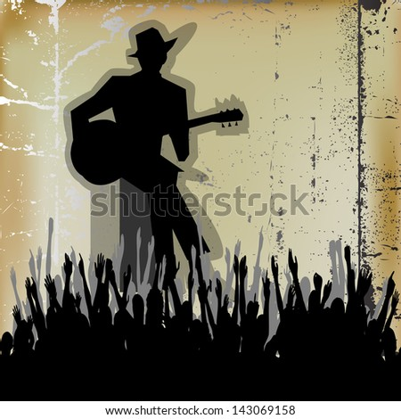Blues Guitar Concert, Poster or Flyer for an Acoustic Gig - stock photo
