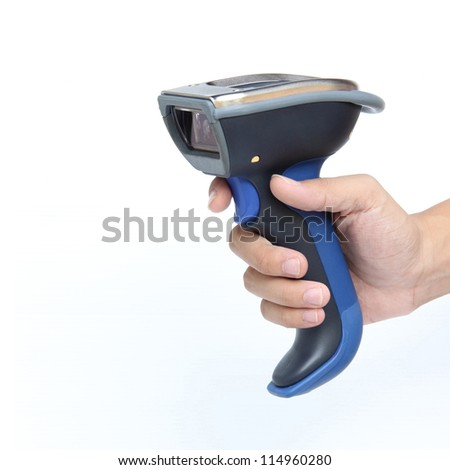 Bluetooth barcode scanner isolated over white background - stock photo